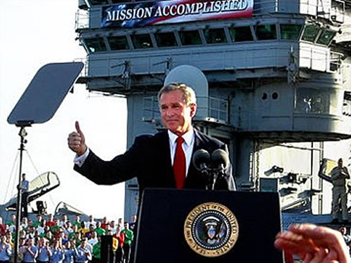 Bush on aircraft carrier
